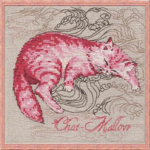 Cat-Mallow embroidery